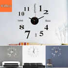 DIY Analog 3D Surface Large Number Wall Clock Sticker Modern Home Decor