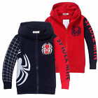 Kids Boys Hoodies Jacket Coat Outwear Tops Superhero Spiderman Cosplay Costumes