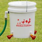 Automatic Chicken Waterer Bucket Kit   Poultry Water Drinking Cups & Float Valve