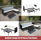 Outdoor Lounge Set 9 Pcs Poly Rattan Garden Sofa Seat Home Furniture Brown/black