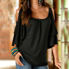 Plus Size Women Blouse Cold Shoulder Top Ladies Summer T Shirt Loose Casual Tops