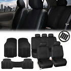 PU Leather Car Seat Covers  Black All Weather Floor Mats wAccessories