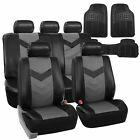 PU Leather Car Seat Covers & Black All Weather Floor Mats - Full Interior S...