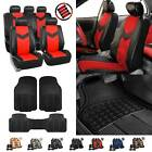 Pu Leather Car Seat Covers & Black All Weather Floor Mats - Full Interior Set