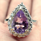 Natural 14x10 Mm Top Class Purple Amethyst white cz Solid 925 Silver Ring L1