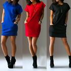 Women's Sexy Dresses Short Sleeve Casual Shirt Mini Dress wi