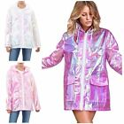 Ladies Hooded Lightweight Fluorescent Mac Festival Kagool Cagoule RaincoatJacket