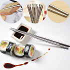 10 Pairs Reusable Metal Long Chopsticks Korean Chinese Stainless Steel Chopstick