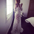 Women Sexy Floral Lace Long Maxi Dress Ball Gown Wedding Boho Prom Beach Party