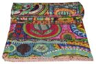 Kantha Quilt Indian Vintage Reversible Throw Handmade Blanket Multi Print Quilts image