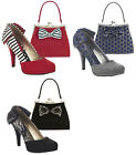 Ruby Shoo Katie High Heel Court Shoes & Matching Logan Bag UK 2- 9 EU 35-42