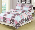 Twin, Full/Queen, or King Quilt Floral Patchwork Cats Bedspread Bedding Set image