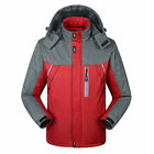 Mens Winter Ski Hiking Outdoor Hooded Coat Thicken Waterproof Jacket Fur Lined