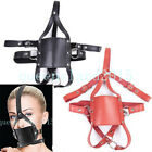 Faux Leather Mask Hood Open Mouth Gag Ball Headgear Harness Fun Cosplay Gothic