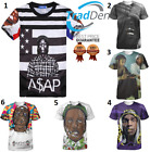 New Style Rapper ASAP Rocky Rap Music 3D T-Shirt Hot Fashion Black Withe Size XL