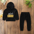 US Toddler Baby Boy Girl Outfits Clothes Hoodie T-shirt Tops+Pants Outfits Black