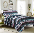 Full, Queen or King Quilt Set Elephant Boho Mandala Coverlet Black Purple Teal