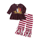Toddle Kids Baby Girls Thankful Letter Shirt Long Tops+Ruffle Pants Clothes Set