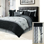 Paris Queen or King Bedding Bed in a Bag 12 Piece Set Eiffel Tower Black, Gray image