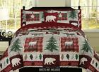 King, Full/Queen, or Twin Bear Lodge Deer Elk Rustic Cabin Comforter Bedding Set image