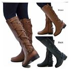 Women's Leather Motorcycle Martin Boots Knee High Knight Pun
