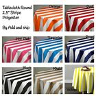 """Tablecloth Round 2.5"""" Stripe Polyester By Add and ship"""