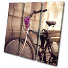 Urban Vintage Bicycle Bench Floral Vintage TREBLE CANVAS WALL ART Picture Print