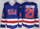 Mike Eruzione 21 Ice Hockey Jersey Vintage 1980 Miracle On White Team USA Hockey
