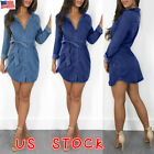Womens Denim Jeans Mini Dress Long Sleeve Belted Casual T Sh