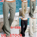 US Plus Size Womens Yoga Palazzo Trousers Summer High Waist
