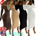 Womens Off Shoulder V-neck Maxi Sweater Dress Long Sleeve Corset Bodycon Dresses