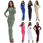Autumn Long Sleeve Slim Maxi Dress for Women Plain Casual Holiday Party Dresses