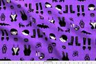 80S 1980S Gothic Fashion Punk Skulls Purple Fabric Printed by Spoonflower BTY