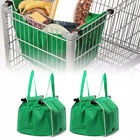 Foldable Reusable Shopping Grab Bag Eco Fabric Grocery Trolley Tote Clip To Cart
