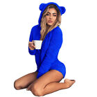 Womens Fluffy Fleece Hooded Rompers Long Sleeve Jumpsuit Bodysuit Shorts Pants
