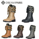 DREAM PAIRS Women Faux Fur Warm Mid Calf Boots Lace Up Zipper Low Heel Boots