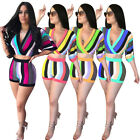 Women Sexy Crop V-neck loose TOP+shorts color stripe printed one set S-3XL L5225