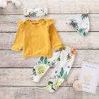 4Pcs Newborn Baby Kid Girl Clothes Romper Shirt Top+Pants Leggings Outfits Set