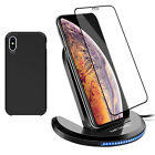 For iPhone XS Max Fast Wireless Charger Charging Stand Pad+Case+Screen Protector