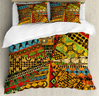 African Duvet Cover Set with Pillow Shams Grunge Ethnic M...