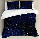 Night Duvet Cover Set with Pillow Shams Vivid Celestial Sky View Print image