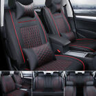 US 100% PU Leather Car Seat Cover 5-Seat SUV Cushions Front & Rear Set W/Pillows