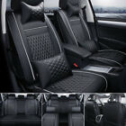 Us 100 Pu Leather Car Seat Cover 5 seat Suv Cushions Front Rear Set W pillows