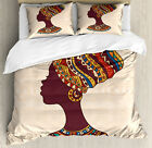 Tribal Duvet Cover Set with Pillow Shams African Ethnic Woman Print
