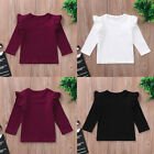 Внешний вид - Toddler Baby Girls Long Sleeve Blouse Ruffles O-Neck Tops Solid T Shirts Clothes