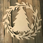 Wooden Christmas Wreath, Wood Christmas Tree, Wooden Cutout, Holiday Shape