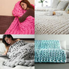 100X80cm Hand Chunky Blanket Thick Wool Bulky Knitting Throw Daily Casual Time A image