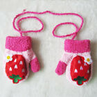 Kids Baby Winter Hand Warm Gloves Mittens With Neck String Strap UK Stock