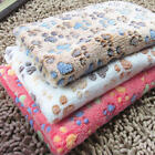 Coral Cashmere Soft Blanket Bed Cushion Pet Small Large Paw Print Puppy Great