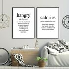 Set of 2 Hangry Calorie Funny Meaning Black Kitchen Poster Prints Wall Art Decor